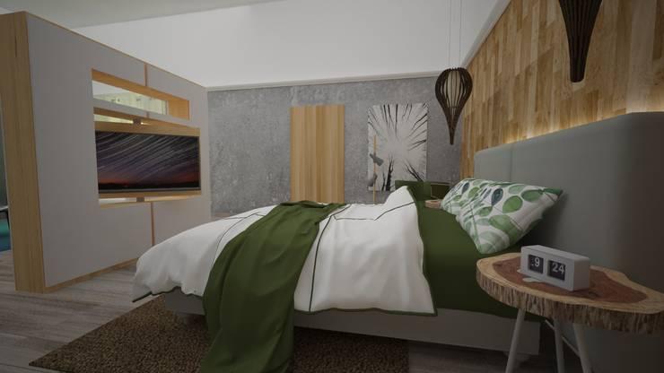 Hotel Boutique Centro Histórico: Dormitorios de estilo  por Armo Dezain, Rústico Compuestos de madera y plástico