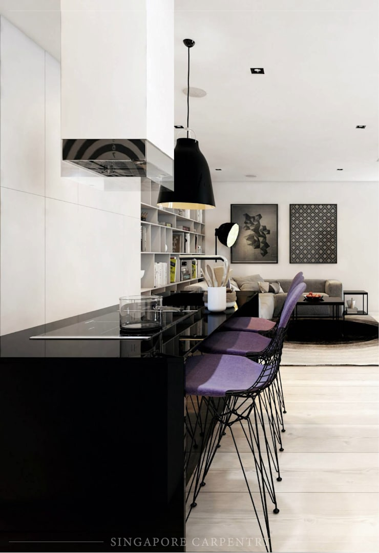 French contemporary style at Duxrton:  Dining room by Singapore Carpentry Interior Design Pte Ltd