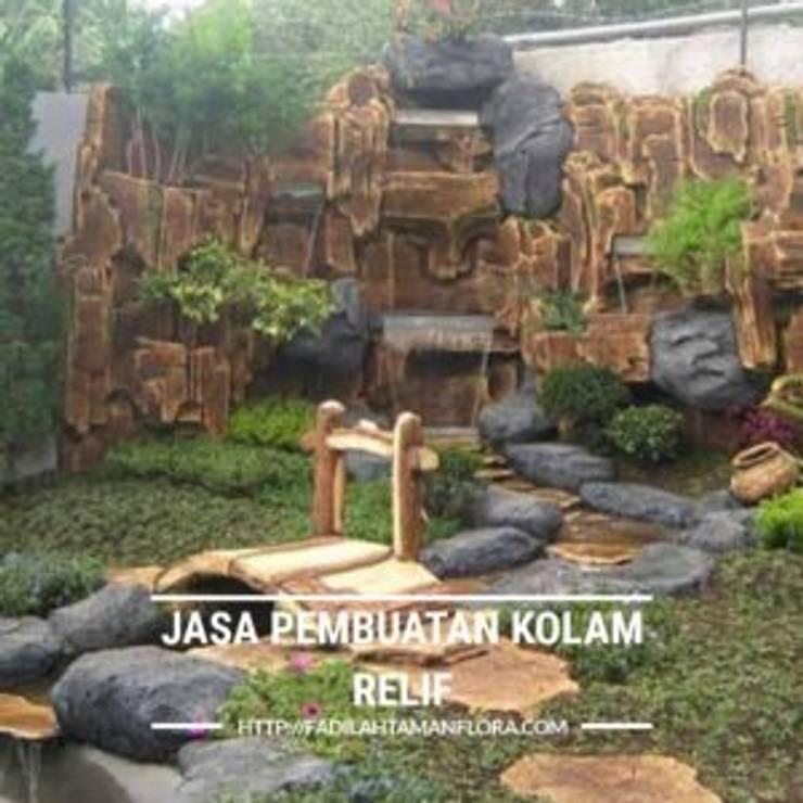 Jasa Pembuatan Relief Taman Minimalis - Relif Tebing dan Air Mancur:  Taman by Berkah indah taman