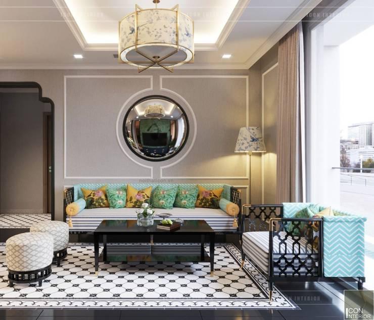Nội thất phong cách Đông Dương với sắc xanh độc đáo:  Phòng khách by ICON INTERIOR