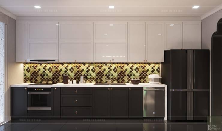 Nội thất phong cách Đông Dương với sắc xanh độc đáo:  Nhà bếp by ICON INTERIOR