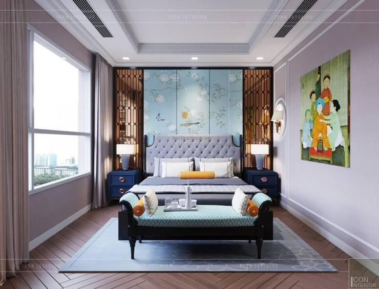 Nội thất phong cách Đông Dương với sắc xanh độc đáo:  Phòng ngủ by ICON INTERIOR