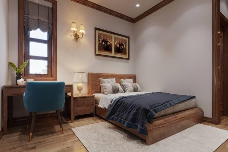 THIẾT KẾ NỘI THẤT TRỌN GÓI BIỆT THỰ VƯỜN 5 PHÒNG NGỦ CỦA ANH HÒA – BẾN TRE:  Phòng ngủ nhỏ by Công ty TNHH Nội Thất Mạnh Hệ