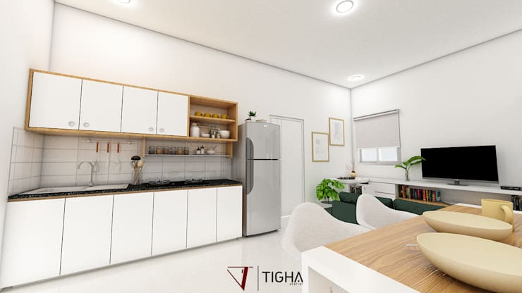 Kitchen & Dining Room:  Dapur kecil  by Tigha Atelier