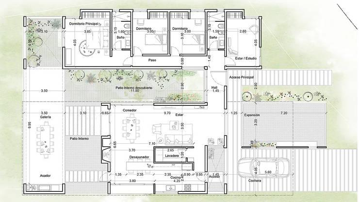 Diseño de Casa en Cañitas 01 por 1.61 Arquitectos: Casas de estilo  por 1.61 Arquitectos