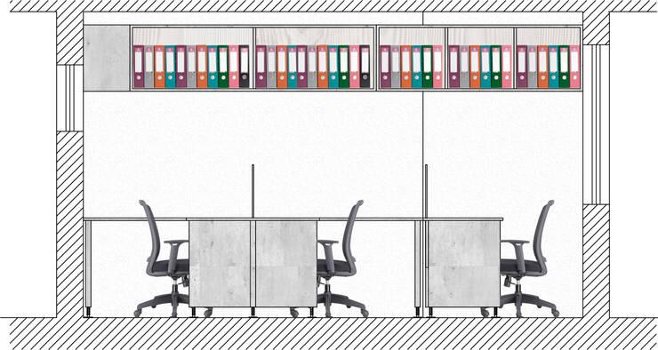 PROYECTO MOBILIARIOS OFICINA:  de estilo  por R-Innovare / Diseño de interiores y Arquitectura / Santiago y Viña del mar