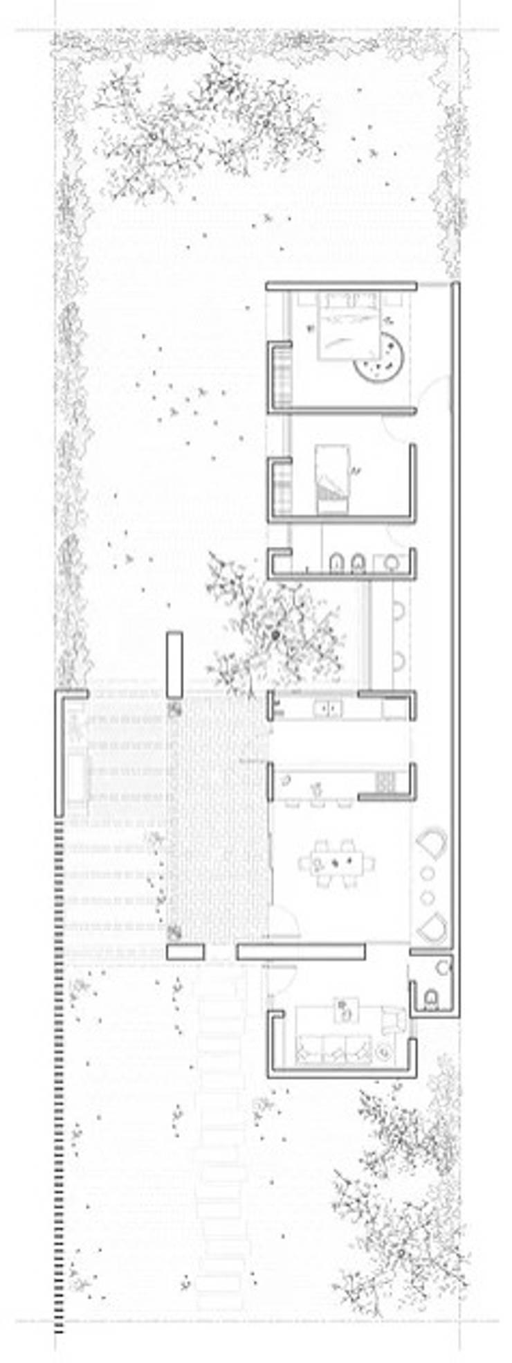 Diseño de Casa a dos Aguas en Valle Alegre por 1.61 Arquitectos: Casas unifamiliares de estilo  por 1.61 Arquitectos,
