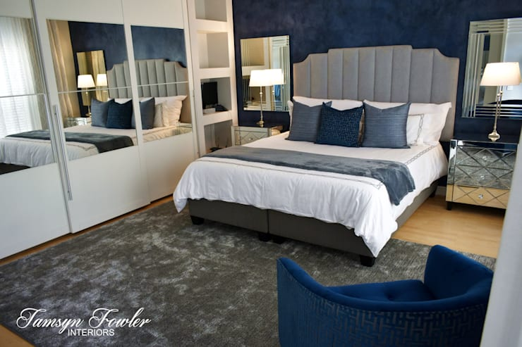 Moody in blue:  Bedroom by Tamsyn Fowler Interiors