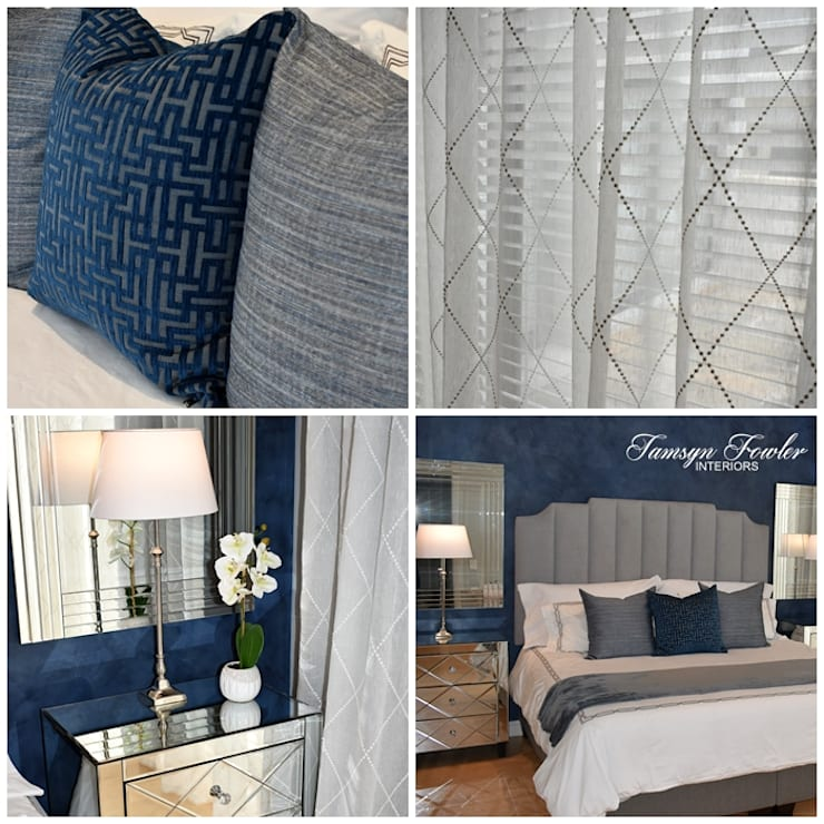Moody in blue:  Bedroom by Tamsyn Fowler Interiors, Modern