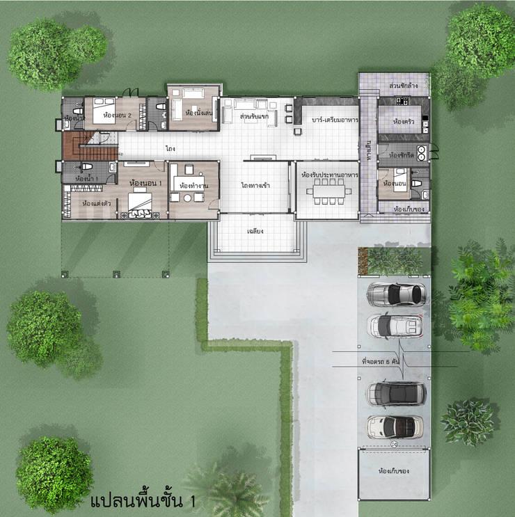 บ้านจำลอง 3D โมเดริน์:  บ้านและที่อยู่อาศัย by บริษัท พี นัมเบอร์วัน ดีไซน์ แอนด์ คอนสตรัคชั่น จำกัด