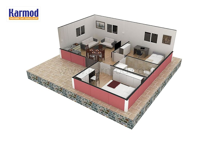 KARMOD PREFABRICATED TECHNOLOGIES – Karmod 49 m2 Prefabricated House:  tarz