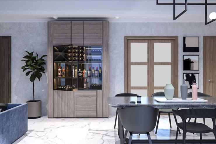 Ruang Makan dan Lemari Penyimpanan Wine :   by PT. Mimo Interior Asia
