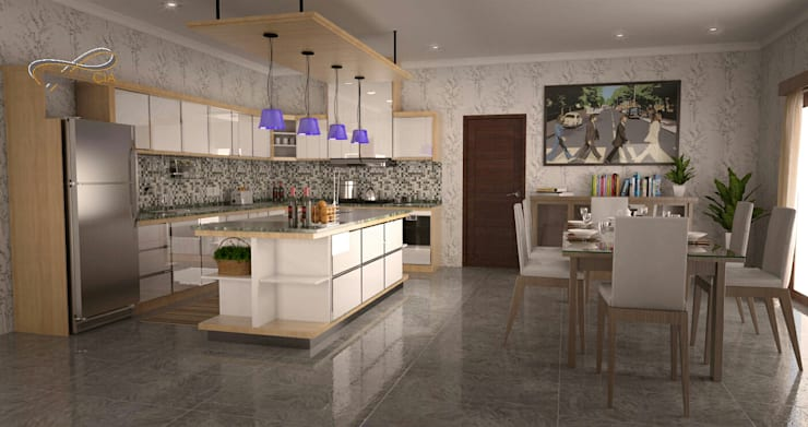 Kitchen and dinning room RF1:   by Residencia