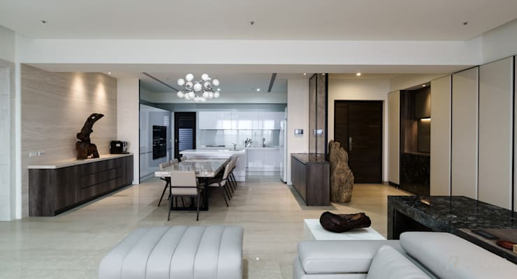 餐廳及玄關:  走廊 & 玄關 by 元作空間設計
