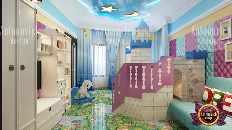 Children's Whimsical Playroom:   by Luxury Antonovich Design