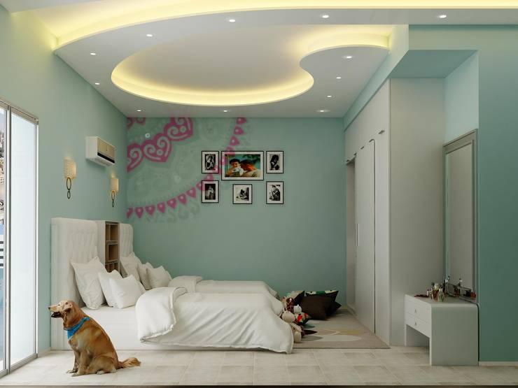 غرفة نوم :  تصميم مساحات داخلية تنفيذ 4walls
