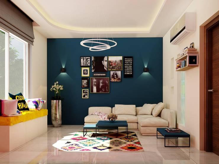 غرفة معيشة :  تصميم مساحات داخلية تنفيذ 4walls