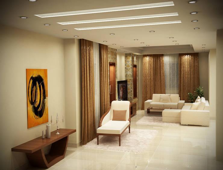 شاليه بالسخنه فندقى :  غرفة المعيشة تنفيذ Raqy Designers & contractors