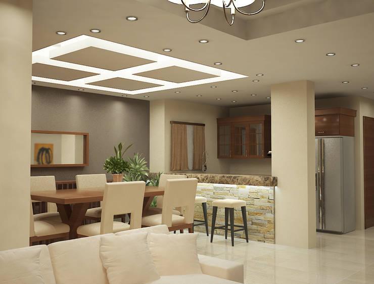 شاليه بالسخنه فندقى :  غرفة السفرة تنفيذ Raqy Designers & contractors