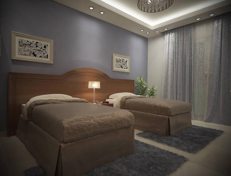 شاليه بالسخنه فندقى :  غرفة نوم تنفيذ Raqy Designers & contractors