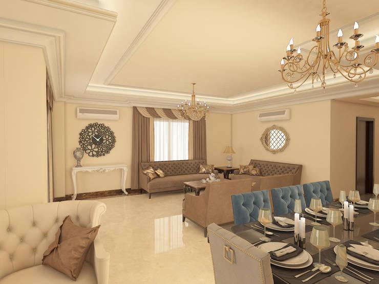 شقه بالتجمع الخامس تصميم وتشطيب:  غرفة المعيشة تنفيذ Raqy Designers & contractors