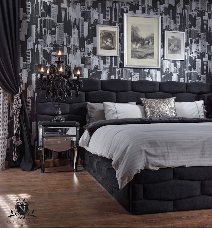 Ultra modern luxury bedroom  Never be scared of black: الآسيوية  تنفيذ NADIA .Gallery, أسيوي خشب Wood effect
