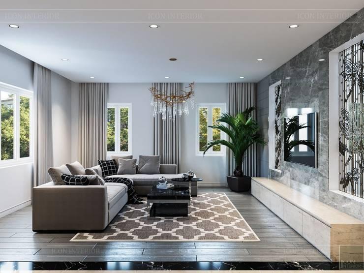 Hơi thở hiện đại cho Thiết kế nội thất Villa sành điệu hơn – ICON INTERIOR:  Phòng khách by ICON INTERIOR