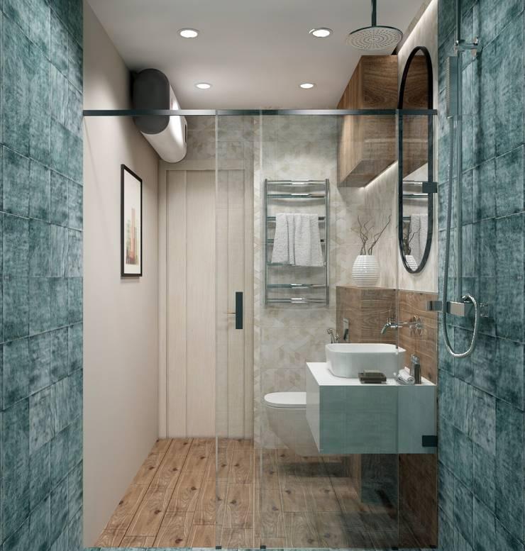 Однокомнатная квартира в скандинавском стиле: Ванные комнаты в . Автор – ARTWAY центр профессиональных дизайнеров и строителей, Скандинавский