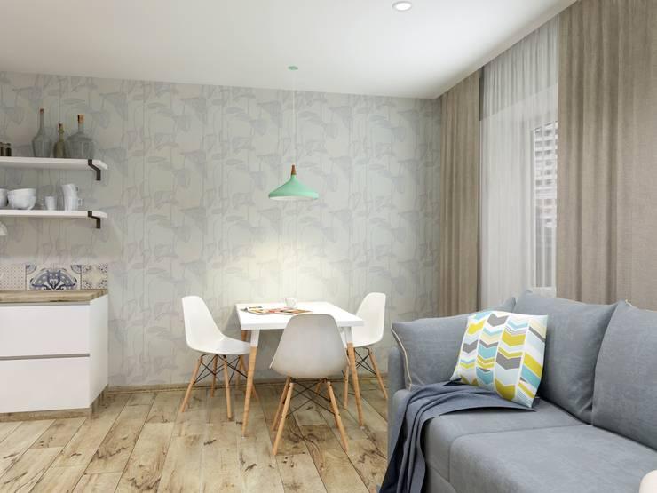 Однокомнатная квартира в скандинавском стиле: Кухни в . Автор – ARTWAY центр профессиональных дизайнеров и строителей, Скандинавский