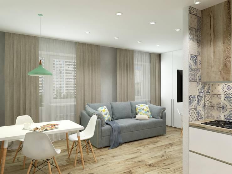 Однокомнатная квартира в скандинавском стиле: Гостиная в . Автор – ARTWAY центр профессиональных дизайнеров и строителей, Скандинавский