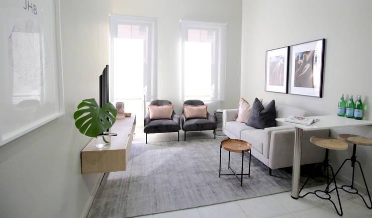 Rosebank Airbnb Design:  Living room by Design Air
