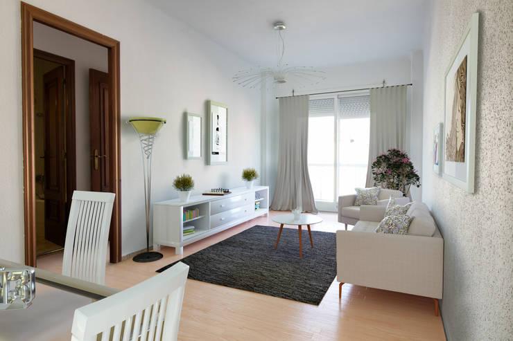 Home Staging virtual 3D Salones de estilo moderno de Impuls Home Staging en Barcelona Moderno