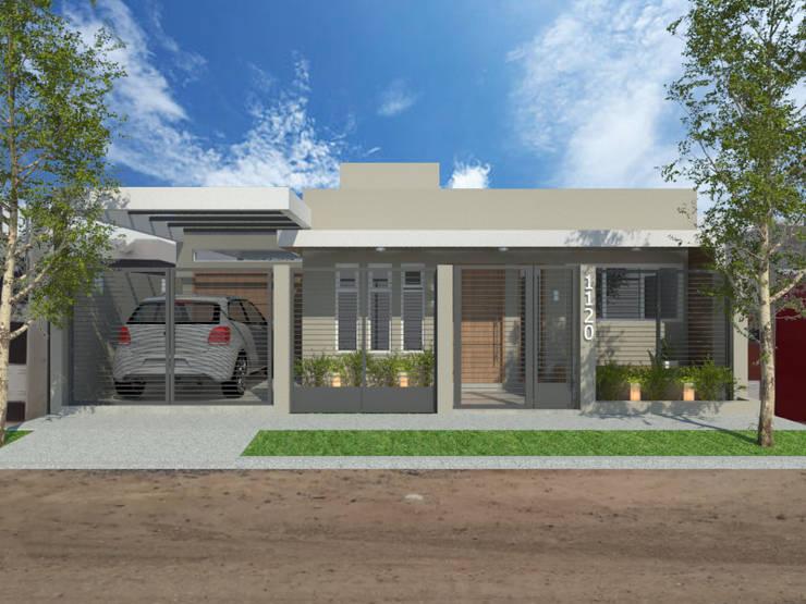 fachada con rejas : Casas de estilo  por VI Arquitectura & Dis. Interior,