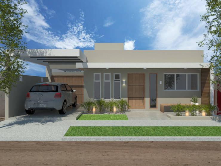 fachada: Casas de estilo  por VI Arquitectura & Dis. Interior,