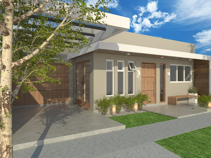 FACHADA : Casas de estilo  por VI Arquitectura & Dis. Interior,