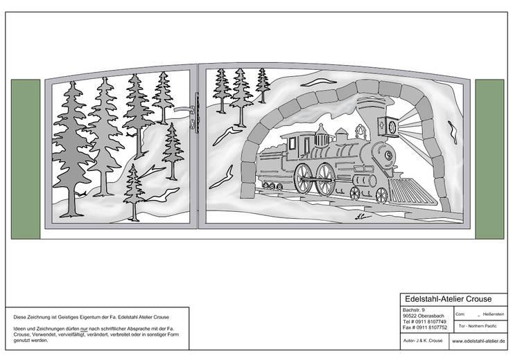 """Planung 2 von """"Western Bergzugtor"""".:   von Edelstahl Atelier Crouse - individuelle Gartentore"""
