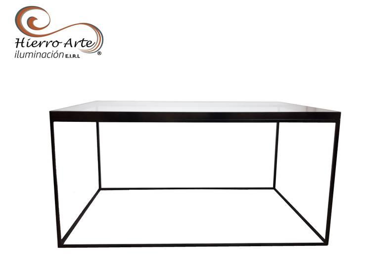 Mesa de centro cúbica rectangular ME0026 de 80*50*40: Salas/Recibidores de estilo  por Hierro Arte Iluminación EIRL