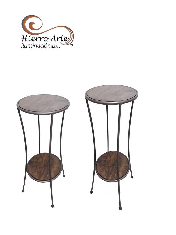 Mesas aguamanil cóncava ME0011 y ME0012: Salas/Recibidores de estilo  por Hierro Arte Iluminación EIRL
