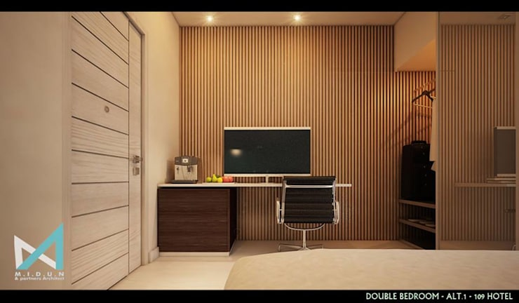 101 HOTEL:  Bedroom by midun and partners architect
