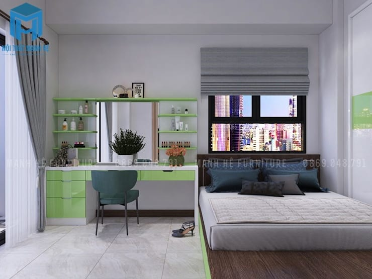 phòng ngủ master:  Phòng ngủ nhỏ by Công ty TNHH Nội Thất Mạnh Hệ