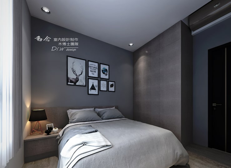 次臥  牆面跳色:  臥室 by 木博士團隊/動念室內設計制作