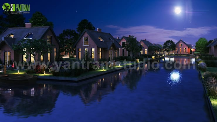Romantic Night View of Waterside Villa 3D Exterior Design Companies