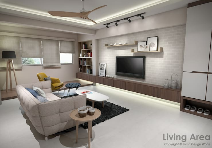 Bedok South Ave 2:  Living room by Swish Design Works