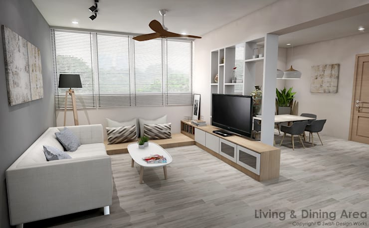 Serangoon Central:  Living room by Swish Design Works