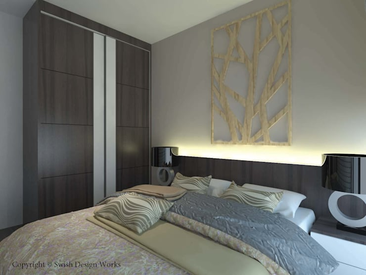 Master bedroom with closed wardrobe:  Small bedroom by Swish Design Works