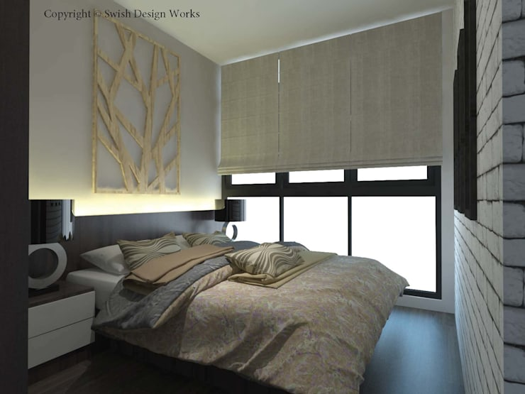 Symphony Suites:  Small bedroom by Swish Design Works