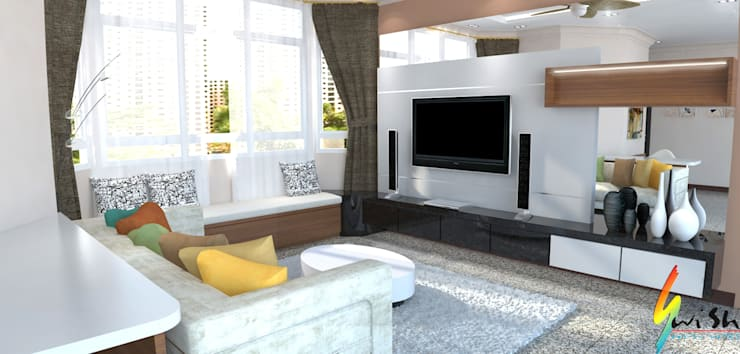 Maysprings:  Living room by Swish Design Works,Classic