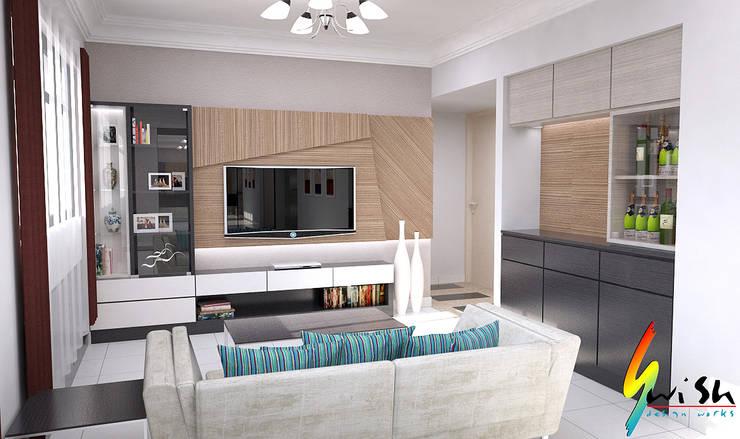 Balam Road:  Living room by Swish Design Works