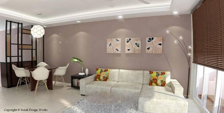 Yishun Ring Road:  Living room by Swish Design Works