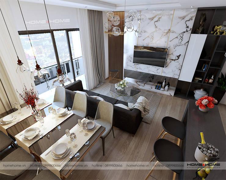 Thiết kế thi công nội thất chung cư Vinhome D'Capitable Trần Duy Hưng:  Living room by Công ty cổ phần kiến trúc nội thất Home&Home